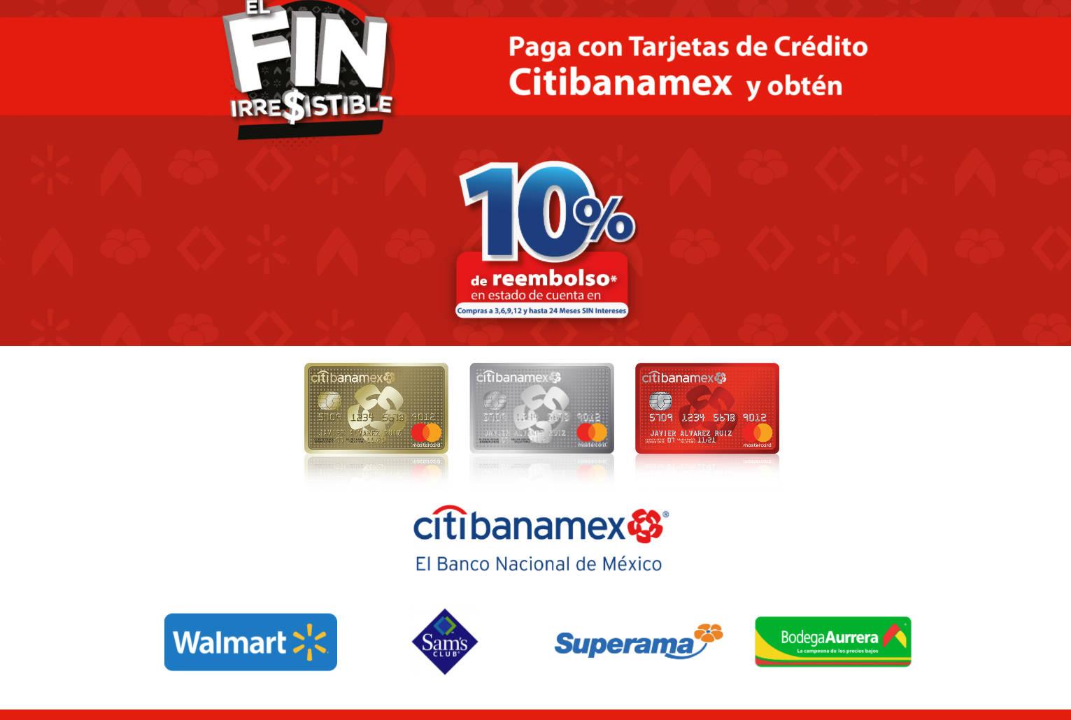 Walmart, Sams Club, Bodega Aurrera y Superama Fin Irresistible 2020: 10% de bonificación con Banamex