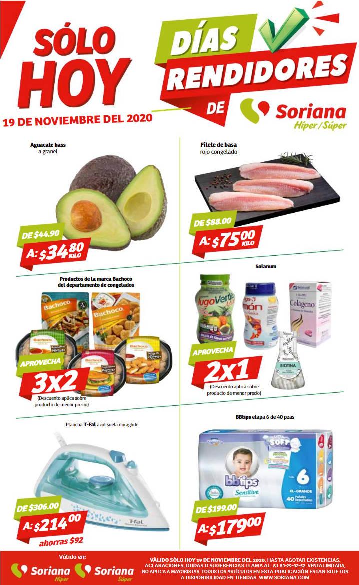 Folleto de ofertas Soriana Días Rendidores 19 de noviembre 2020