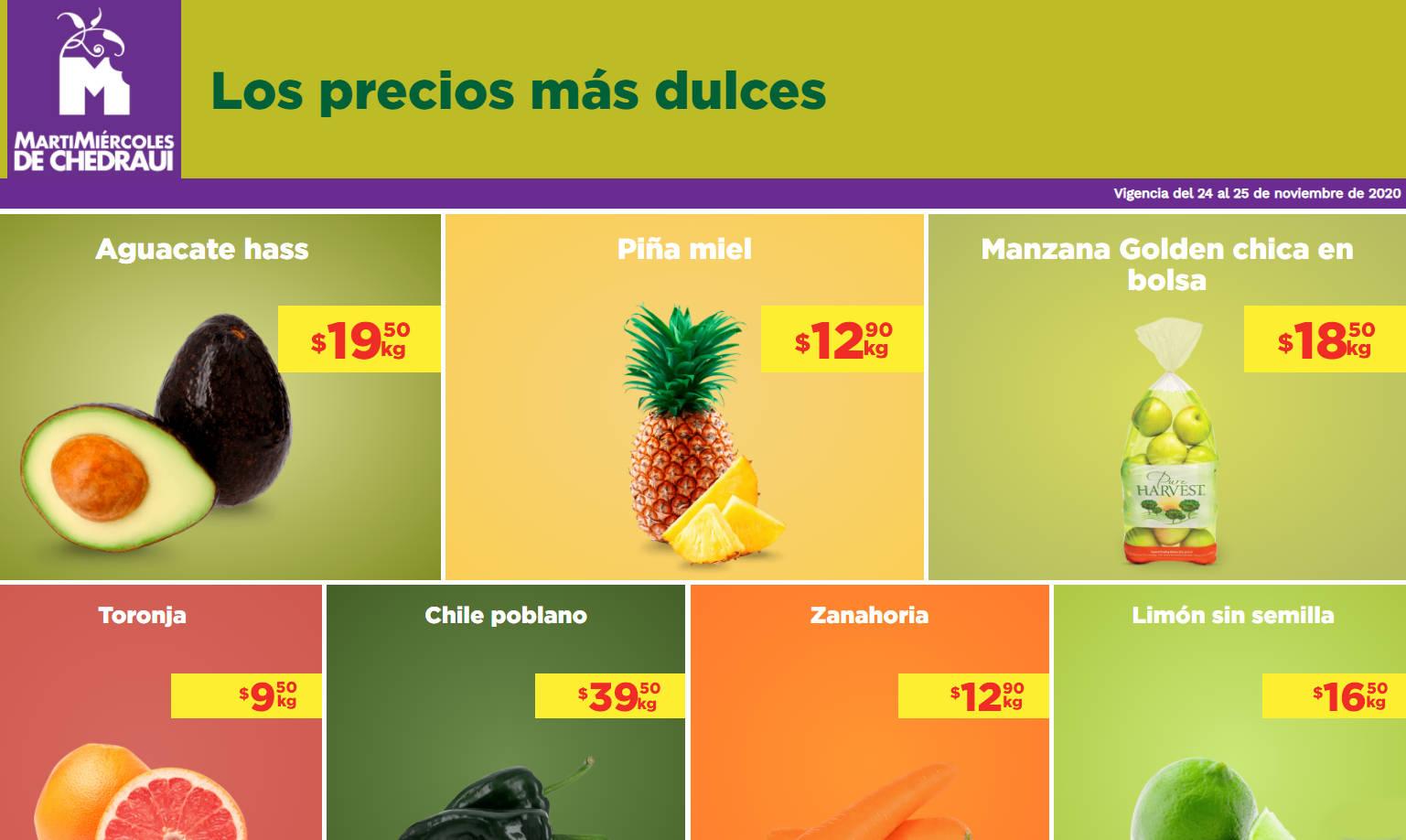 Frutas y Verduras Chedraui 24 y 25 de Noviembre 2020