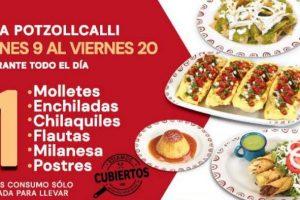 Potzollcalli Buen Fin 2020 2x1 en molletes, enchiladas, milanesas, postres