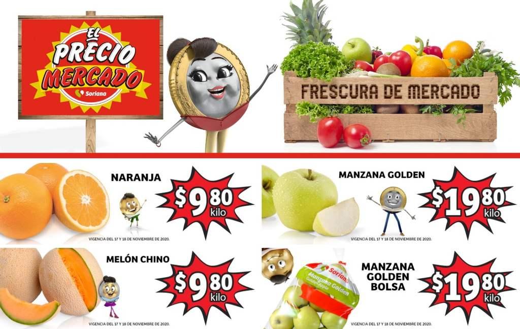 Folleto Soriana Mercado frutas y verduras del 17 al 19 de noviembre 2020