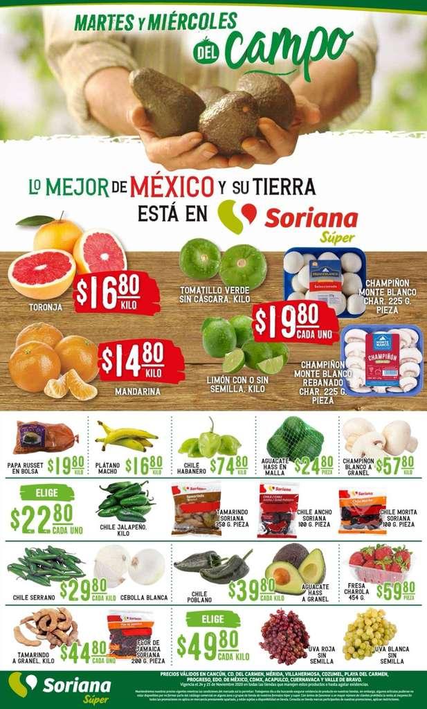 Ofertas Soriana Súper Martes y Miércoles del Campo 24 y 25 de noviembre 2020