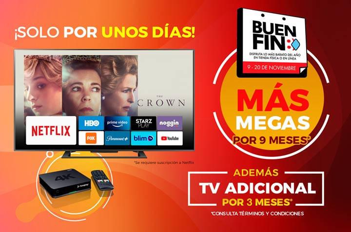 TotalPlay Buen Fin 2020: Doble de megas por 9 meses y 3 meses de TV adicional