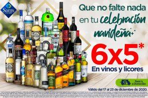 Sams Club: 6×5 en vinos y licores del 18 al 23 de diciembre 2020