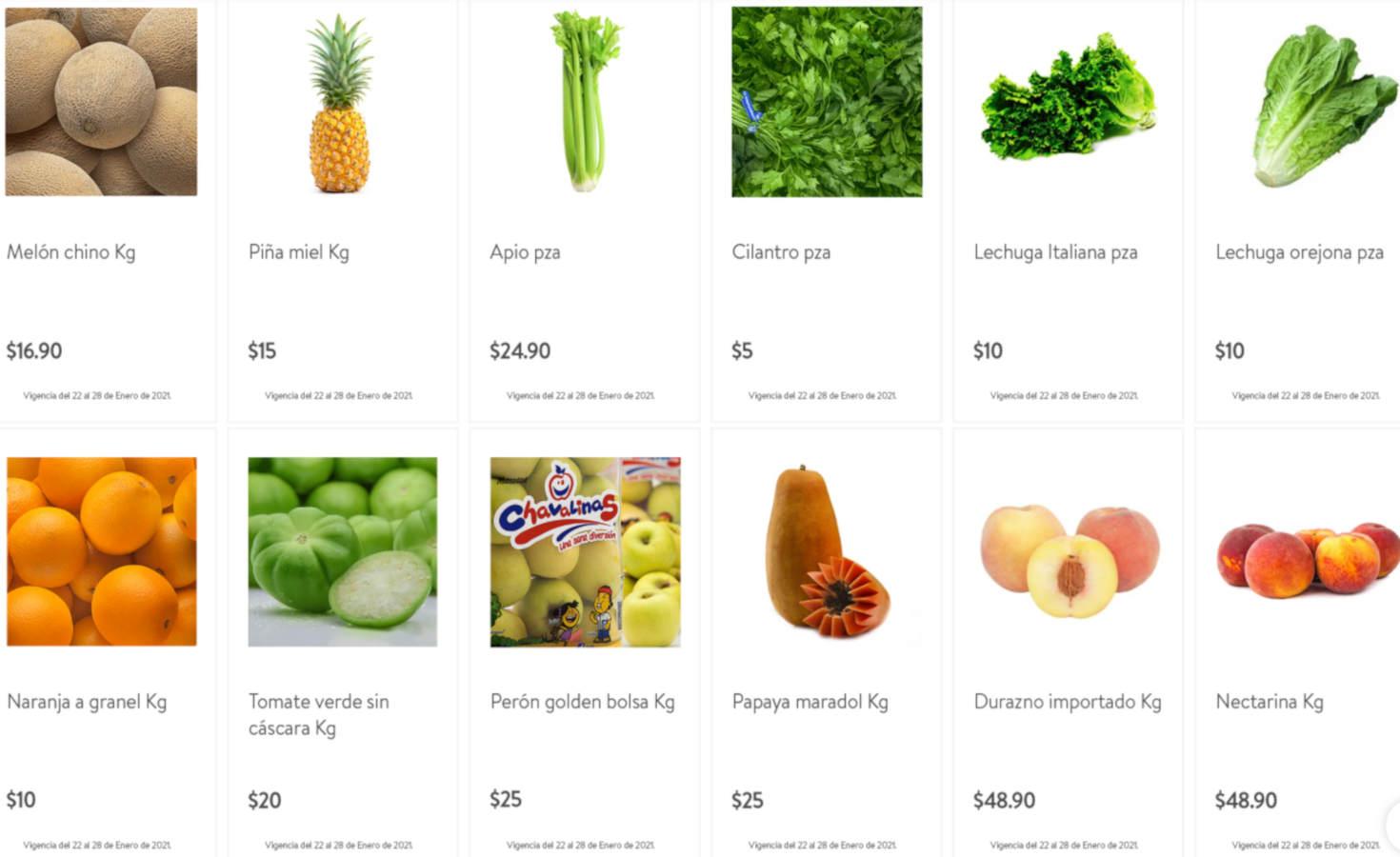 Folleto Tianguis Bodega Aurrerá frutas y verduras 22 al 28 de enero 2021