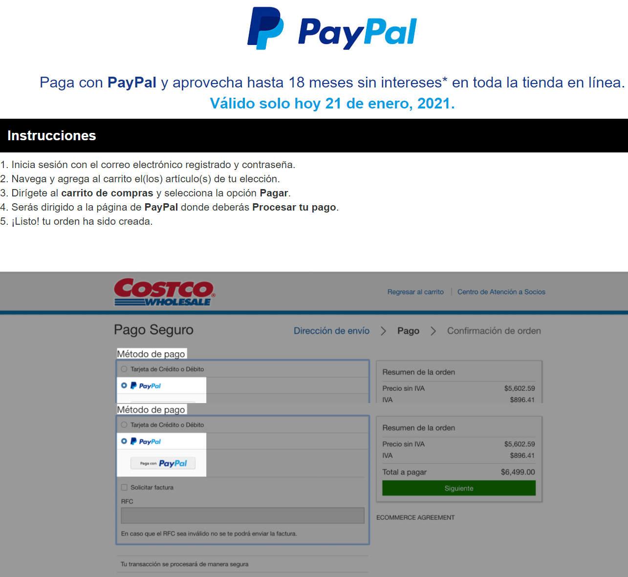 Costco: hasta 18 meses sin intereses pagando con Paypal