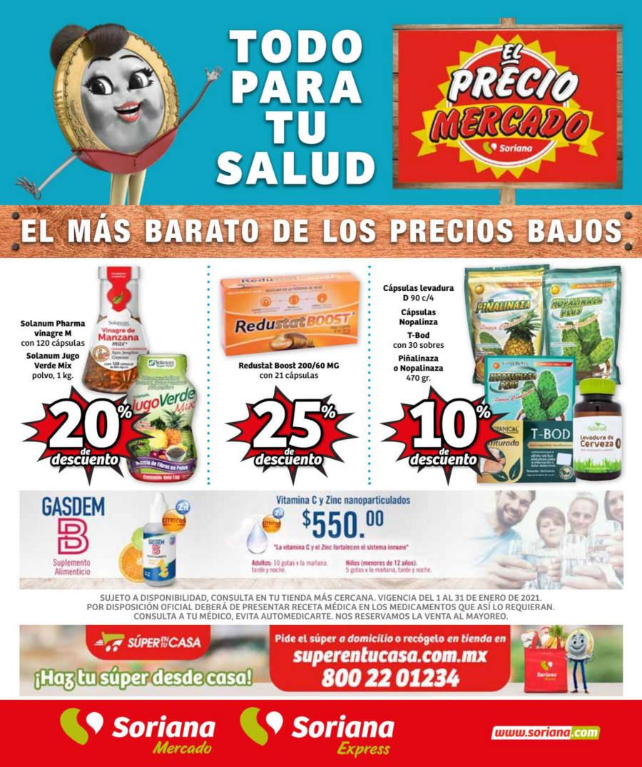 Folleto Soriana Mercado Todo para tu Salud Enero 2021