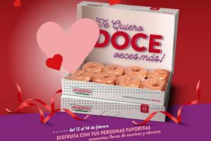 Promoción de San Valentín Krispy Kreme Docena de Donas Glaseada a $99