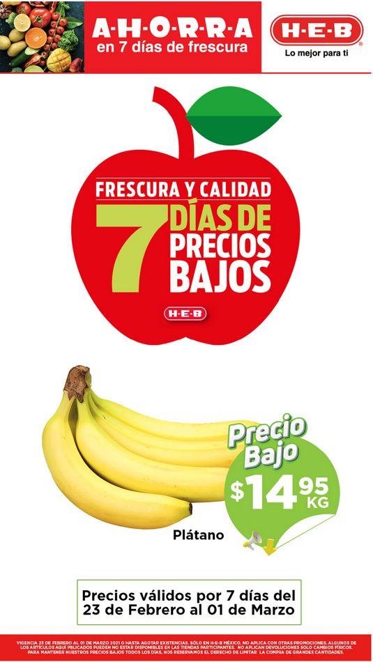Ofertas HEB Frutas y Verduras del 23 de febrero al 1 de marzo 2021