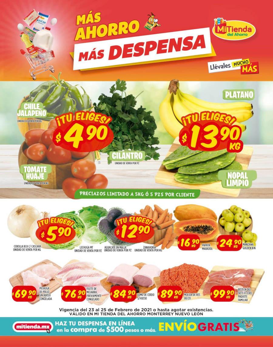 Ofertas Mi Tienda del Ahorro frutas y verduras del 23 al 25 de febrero 2021
