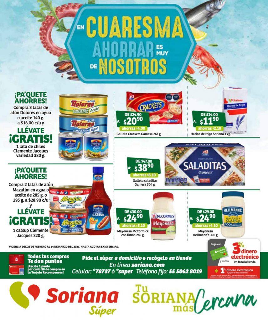 Folleto Soriana Super Ofertas de Cuaresma al 14 de marzo 2021