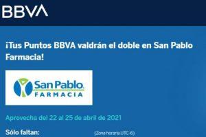 Promoción BBVA Puntos dobles en Farmacia San Pablo al 25 de abril