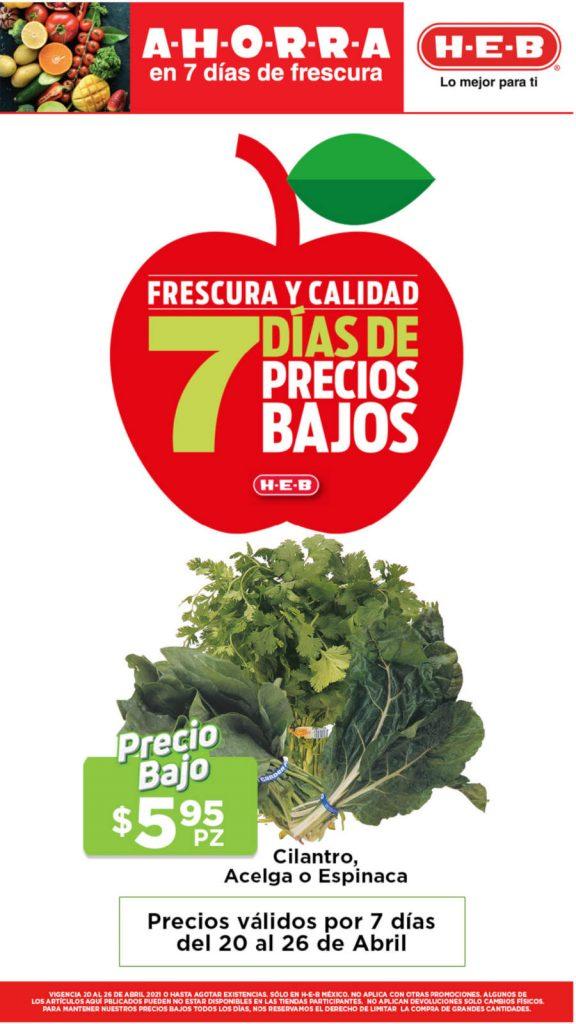 Ofertas HEB frutas y verduras del 20 al 26 de abril 2021
