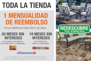 Home Depot: 1 mensualidad de reembolso a 18 MSI con tarjetas Citibanamex