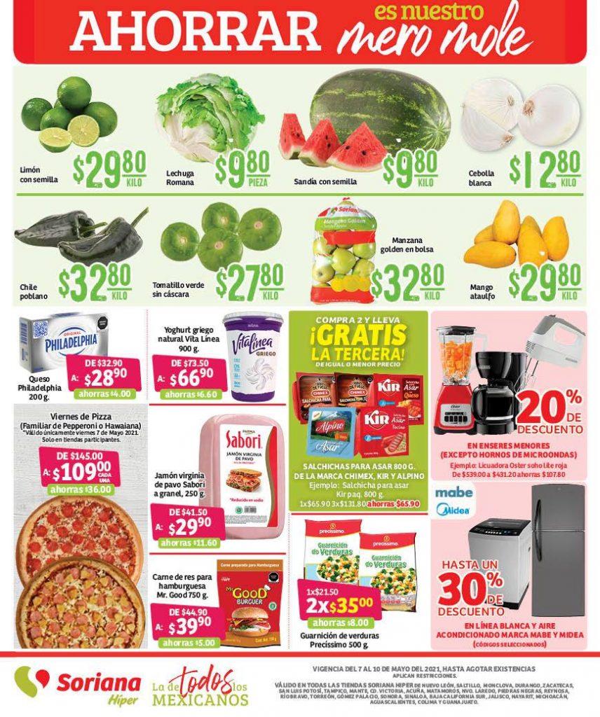 Ofertas Soriana Carnes frutas y verduras 7 al 10 de mayo 2021