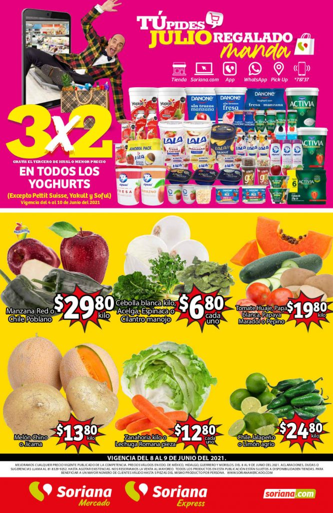 Folleto Soriana Mercado frutas y verduras 8 al 10 de junio 2021