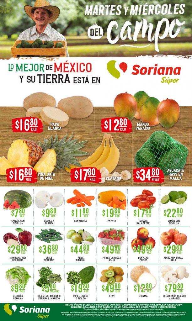 Ofertas Soriana Súper Martes y Miércoles del Campo 20 y 21 de julio 2021