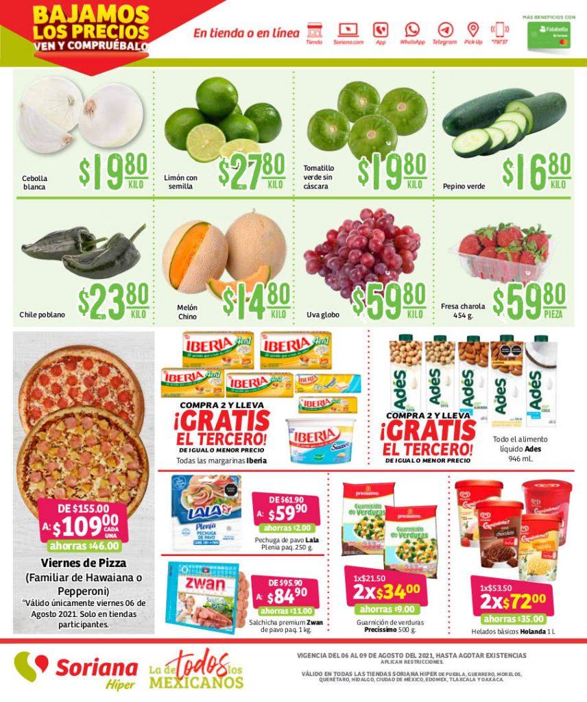 Ofertas Soriana frutas y verduras fin semana del 6 al 9 de agosto 2021