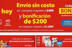 Walmart: Cupón $200 de descuento en Súper al 3 de octubre 2021