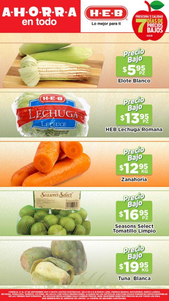 Ofertas HEB frutas y verduras del 21 al 27 de septiembre 2021