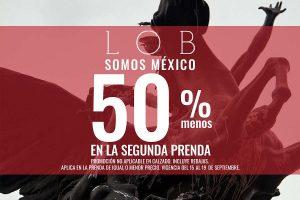 Lob: 50% en la segunda prenda en todas las tiendas