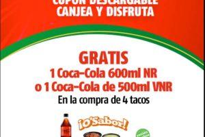 Promoción Oxxo Coca-Cola Gratis en la compra de 4 tacos usando cupón