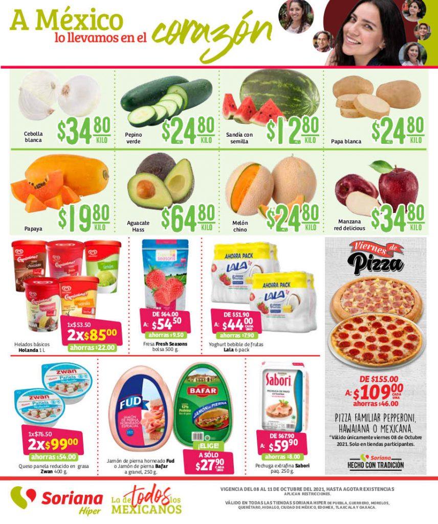 Ofertas Soriana frutas y verduras fin de semana 8 al 11 de octubre 2021