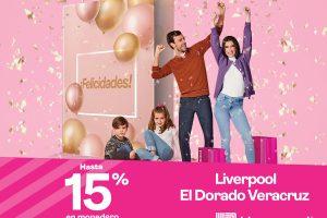 Promociones Liverpool Sorpresas de Aniversario 2021: 15% en monedero